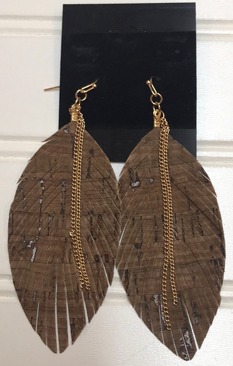 Brown Feather Earrings with Gold Chains