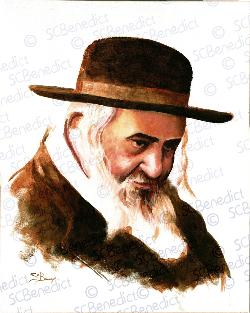 "R' Shayale of Kerestir | R' Yeshaya ben R' Moshe Steiner zt""l | Painting | Shmuel Chaim Benedict"