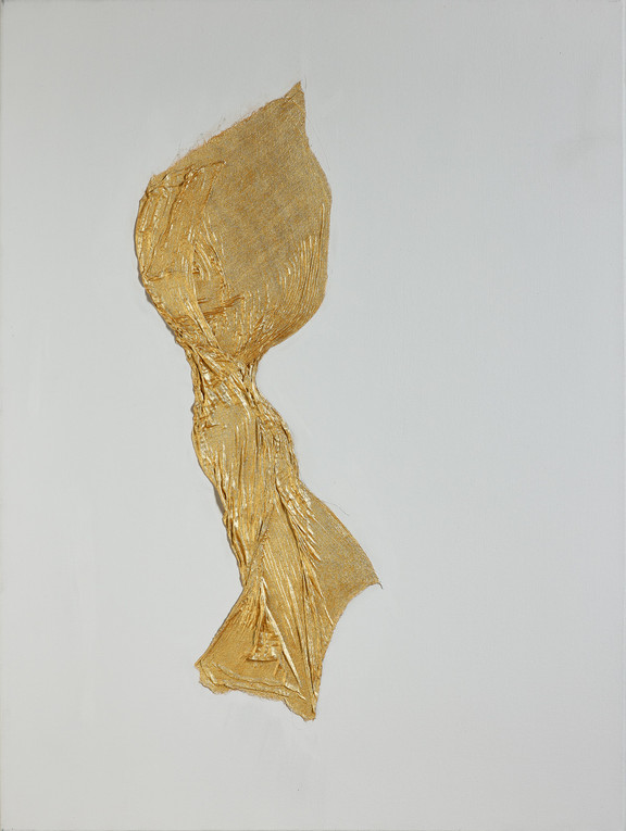 Figure in Gold on Silver Grey