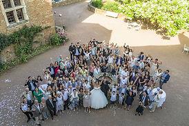 groupe de mariage vue par drone