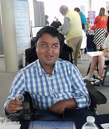 disabled man helping the organisation