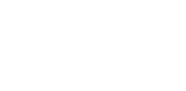 White Measure Law Logo, all caps with line mountain icon above ME