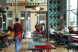 Modern Cafe window overlooking brick building
