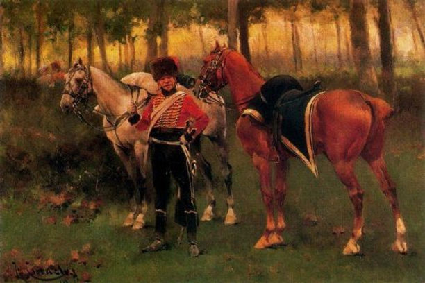 French-Hussar-Josep-Cusachs-Oil-Painting