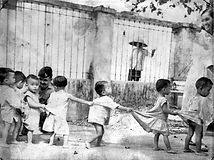 Children line up at a Saigon orphanage,