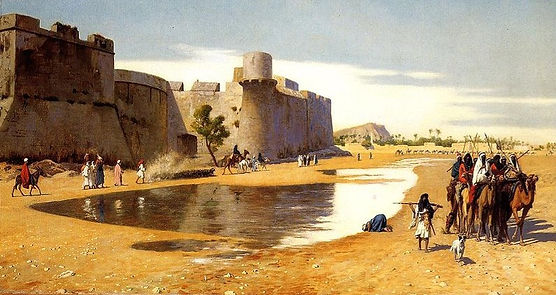An_Arab_Caravan_outside_a_Fortified_Town,_Egypt