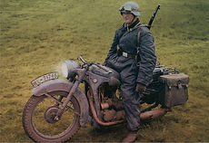 German Luftwaffe motorcycle messenger on