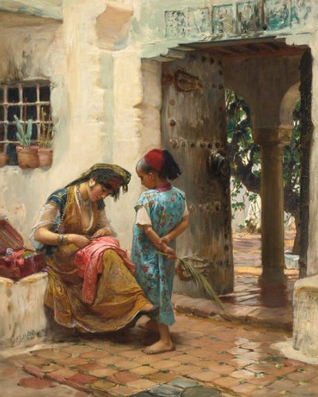 The Sewing Lesson by Frederick Arthur Br