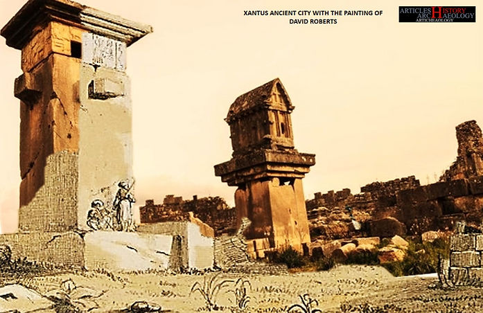 Xantus Ancient city - Turkey with the painting of David Roberts