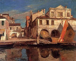 Canal_Scene_in_Chioggia_by_Bauernfeind.j