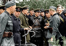 Wehrmacht Soldiers fraternise with offic