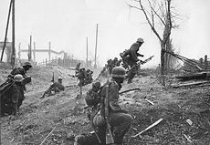 German soldiers advance outside Stalingr