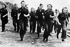 German girls are shown in training with