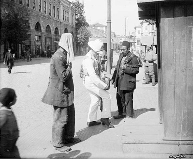 British Soldiers checking civilians