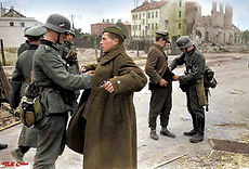 German troops search captured Polish soldiers for items possibly concealed in their clothing.