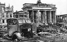 Brandenburg gate after the bombing of Berlin