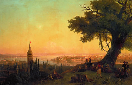 View of constantinople by evening light.