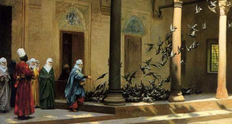 Women Feeding Pigeon by French painter J