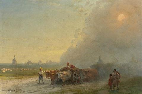Ox-carts In The Ukrainian Steppe Art Pri