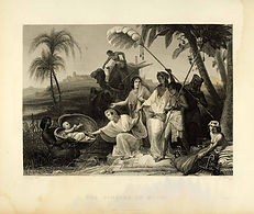 1849 Copper Engraving Moses Baby Nile Sc