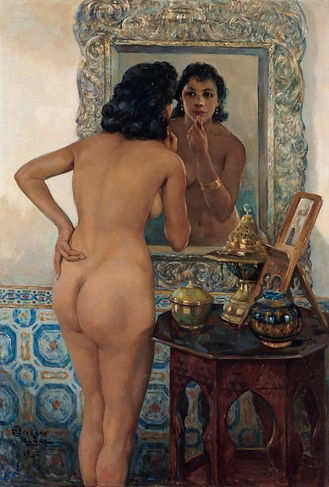 an-algerian-beauty-in-front-of-the-mirror-1956 Emile Deckers (1885 – 1968)