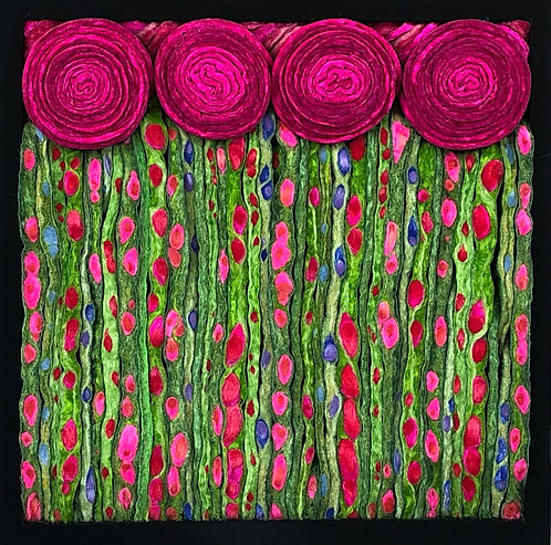 "Hot Pink Nouveau Meadow  9.5""sq"