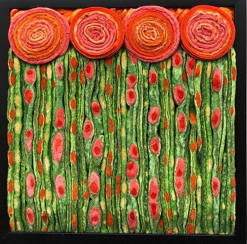 """Orange Nouveau Meadow  9.5""""sq"""