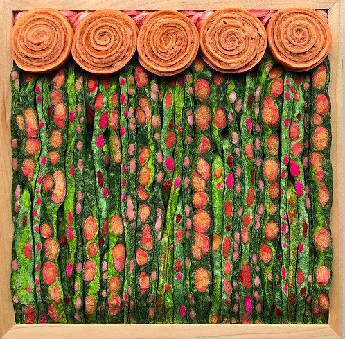 """Peach Nouveau Meadow  9.5""""sq"""