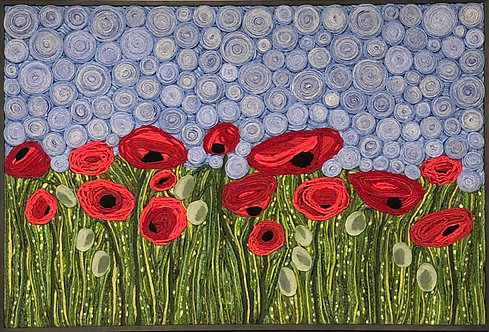 "A Riot of Poppies 37""x 25"""