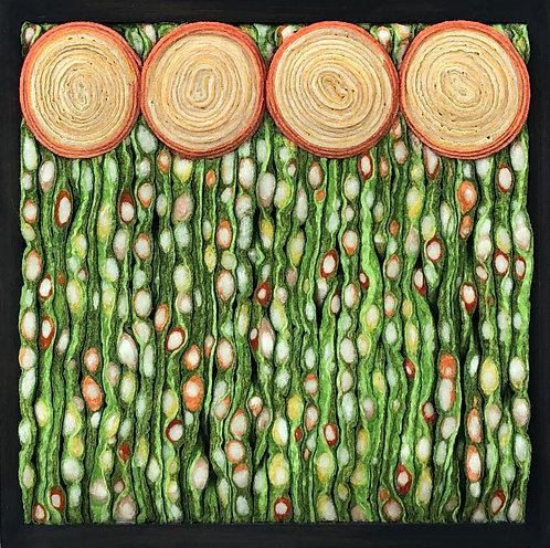 """Apricot Nouveau Meadow  9.5""""sq"""