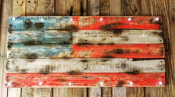Distressed USA Art with Marquee Lights