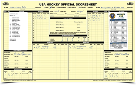 USA Hockey score sheet label stickers