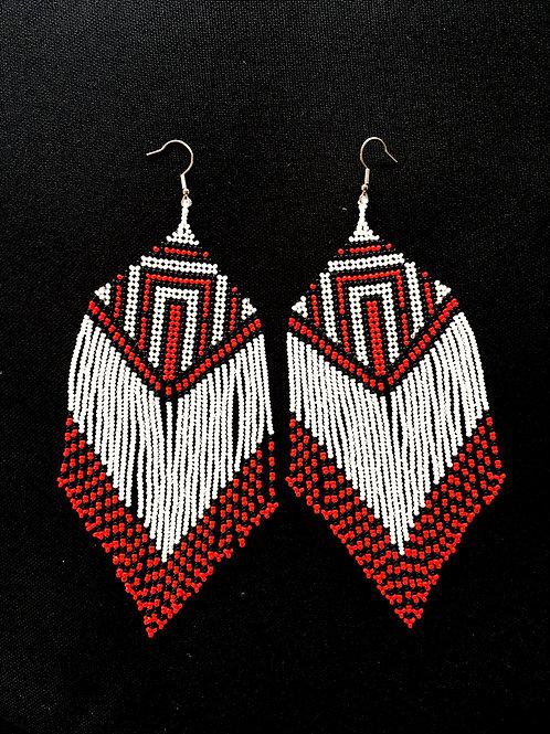 Kayapo Amazonian Tribe Women Handmade Glass Beaded Earrings Tribal Authentic Cer
