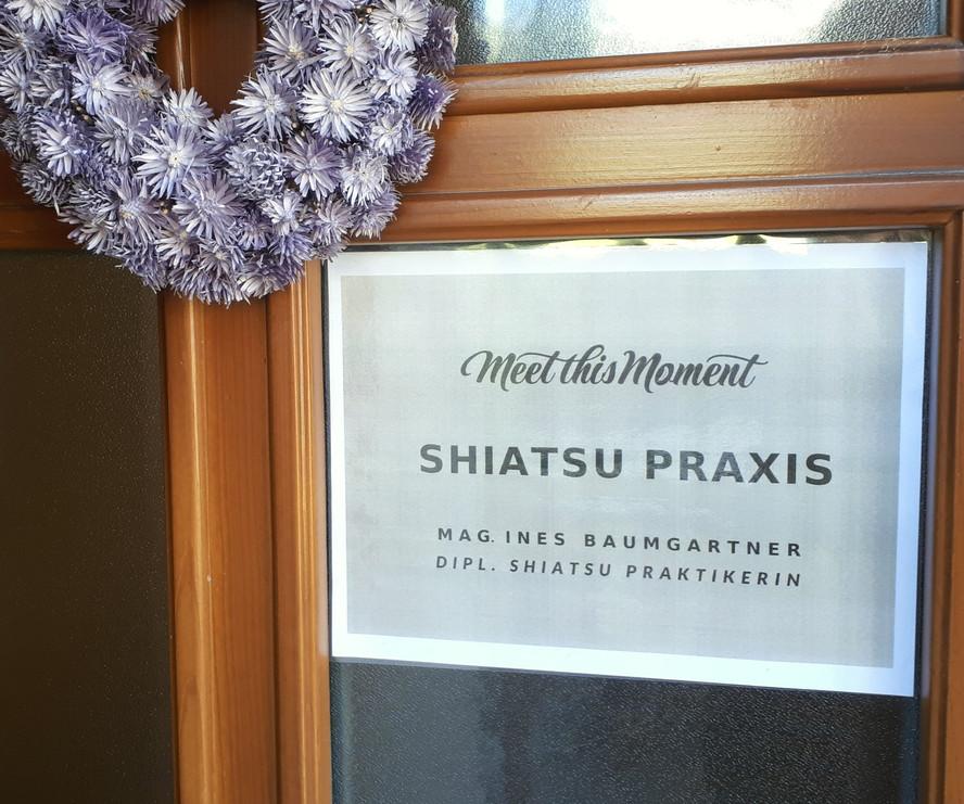 Shiatsu Praxis Thörl - Eingangsschild