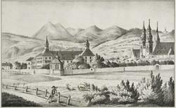 Johann Kravogl, Die Hofburg von Süden gesehen, 1845 Lithografie