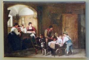 Das Hundefuhrwerk, Gemälde von Hugo Engl