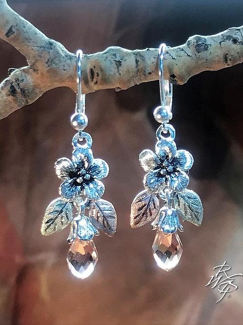 Forget Me Not & BHG Leaves & Swarovski Crystal Lever back Earrings