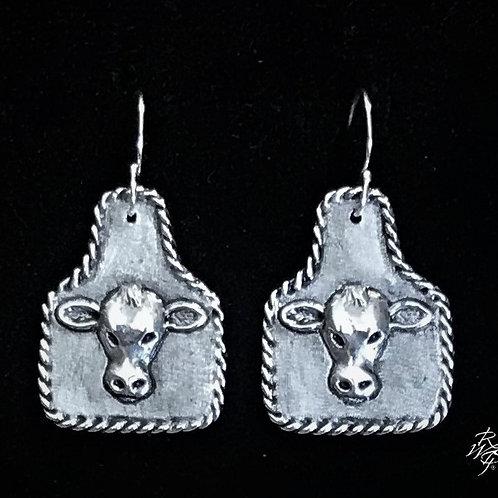 Cow Tag Cow Head Earrings