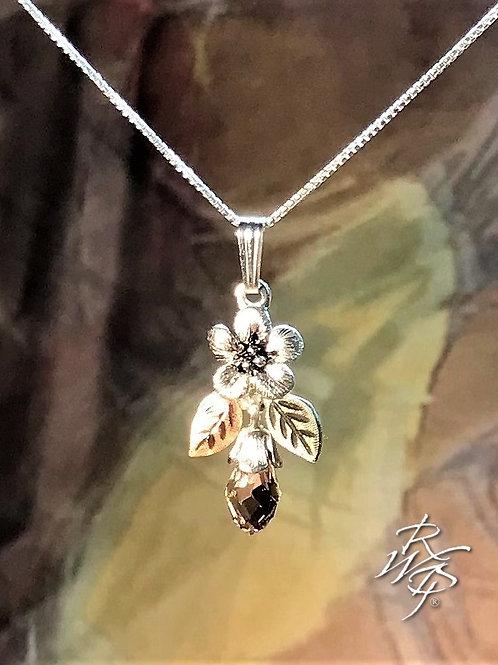 Forget Me Not & Black Hills Gold & Swarovski Crystal Pendant