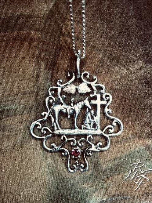 Praying cowboy necklace