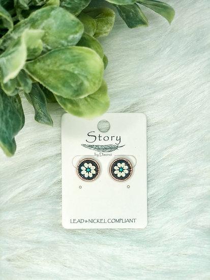 White Flower Coppertone Stud Earrings