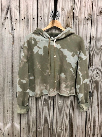 Military Green Bleached Cropped Hoodie