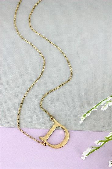 Goldtone D Initial Necklace
