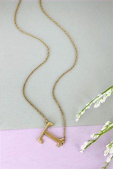 Goldtone T Initial Necklace