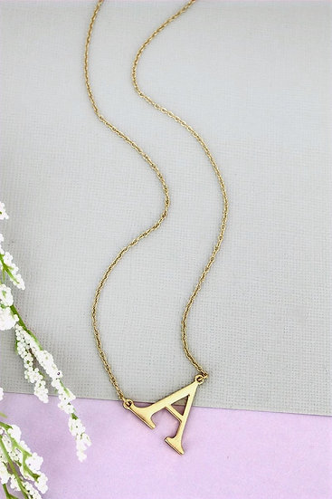 Goldtone A Initial Necklace