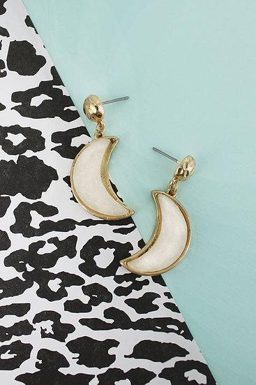 Druzy Moon Earrings