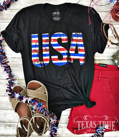 USA Striped Foil Tee