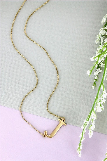 Goldtone J Initial Necklace