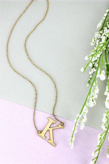 Goldtone K Initial Necklace