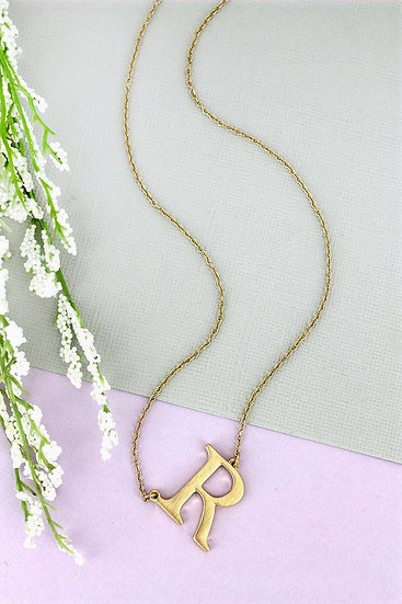Goldtone R Initial Necklace